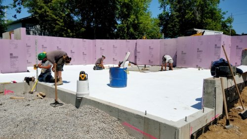 Bat Walls Are Constructed To 8 High Using Poured Concrete Dimpled Air Gap Membrane On The Exterior Provides Waterproofing Interior Side